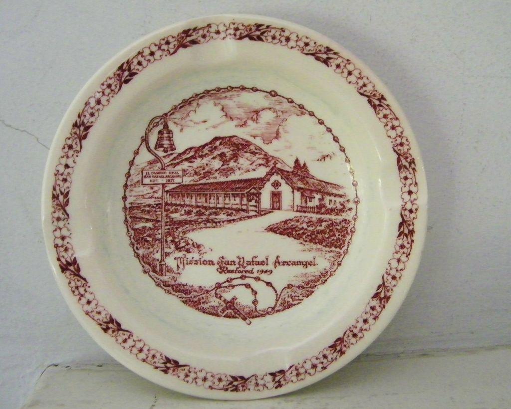 """Vernon"" California  Mission Souvenir Ashtray"