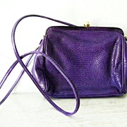SALE Italian Purple Lizard Leather Shoulder Purse Cross Body Bag (snakeskin)