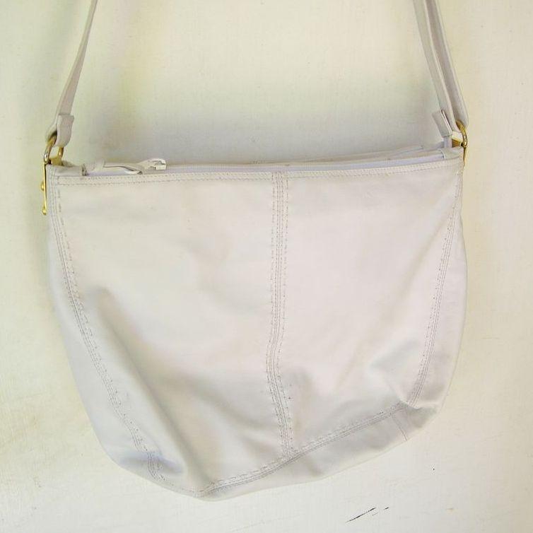 Ganson White leather Hobo multiple compartments Shoulder Bag mint