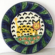 SALE Large Talavera ceramic Plate signed Amora lion and flowers