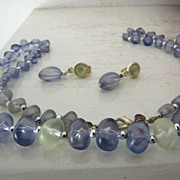 SALE Worthington necklace and earrings Sea Glass colors