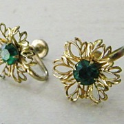 SALE Green Rhinestone Floral Earrings Screw Back