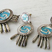 SALE Sterling Silver Turquoise Yanhuitlan Brooch or Pendant  Earring Set Mexico