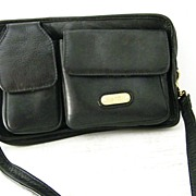 SALE LAND black Columbian leather travel organizer purse