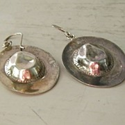 Sterling Silver Cowboy Hat Pierced Earrings