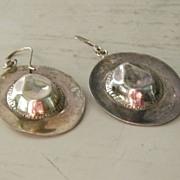 SALE Sterling Silver Cowboy Hat Pierced Earrings