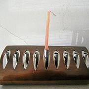 SALE Unique Signed Copper and Steel Menorah Modernist