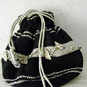SALE Silver & Black Crochet Reticule Evening Bag Pristine!