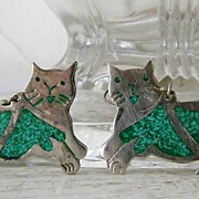 SALE Cat Earrings Mexican Alpaca Silver