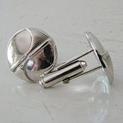 SALE Silvertone round button-style cufflinks / nice weight