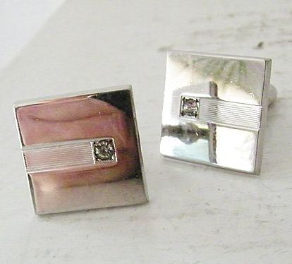 Anson Modern Silvertone Cufflinks with Diamond