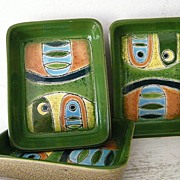 SALE 3 Artesa Hand Painted Abstract Modern Ceramic Dishes