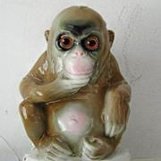 SALE Porcelain  Book End Contemplative Monkey