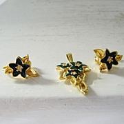 SALE Blue Stars & Rhinestones Pendant & Earring Set