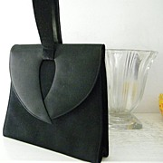 SALE Lennox Black Wool Crepe and Wool Felt Purse Swagger Handle