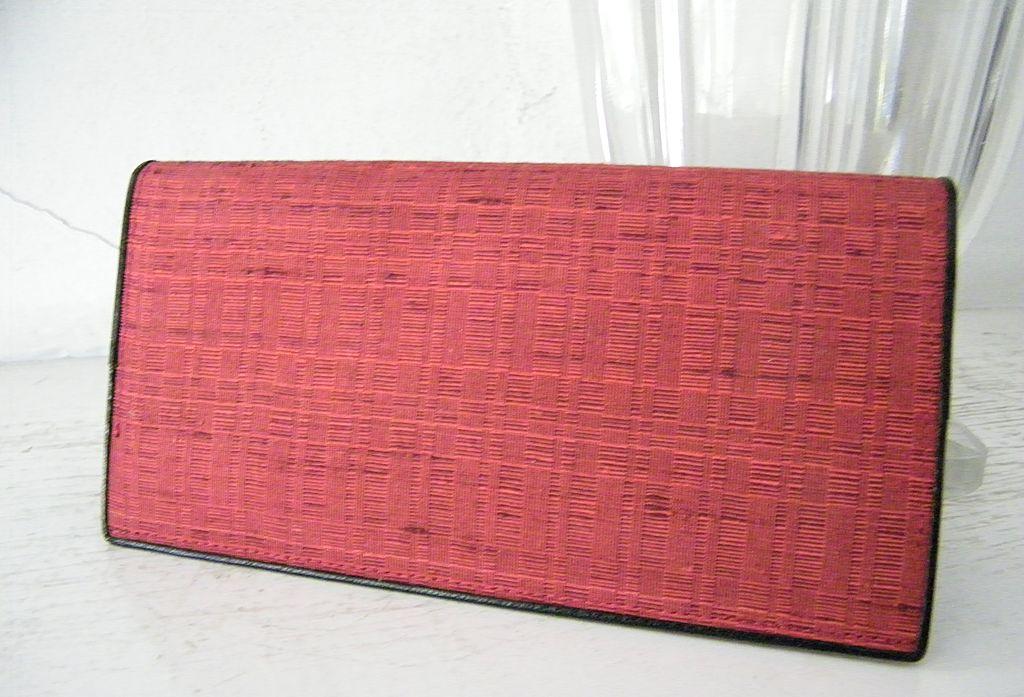 Red Raw Silk Checkbook Wallet Mint!