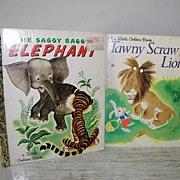 SALE Two Little Golden Books about Animals ( Lion & Elephant ) Excellent Cond!