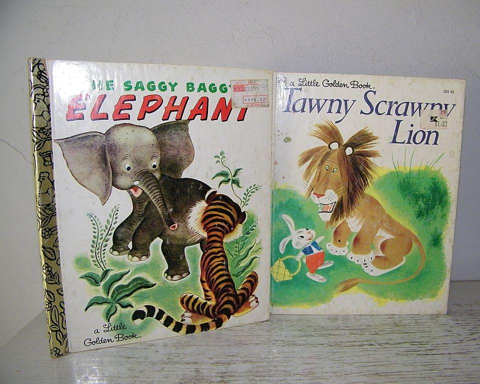 Two Little Golden Books about Animals ( Lion & Elephant ) Excellent Cond!