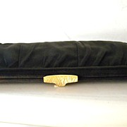 SALE Black Faille Morris Moskowitz Clutch Handbag