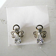 SALE Vintage Rhinestone Angel Earrings