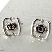 SALE Black & Silvertone Crown Cufflinks