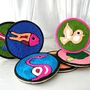 SALE Mint! 6 Huichol Mexican Folk Art Yarn Coasters NIP