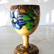 SALE Handpainted Wood Egg Cup from Anton am Arlberg, Austria