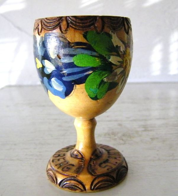 Handpainted Wood Egg Cup from Anton am Arlberg, Austria