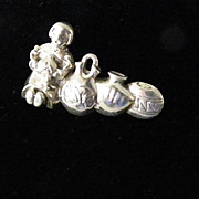 SALE Unusual Sterling Silver Pendant or Brooch Woman with Pots