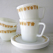 Butterfly Gold Pyrex Mugs & Cups with Saucers 9 pieces
