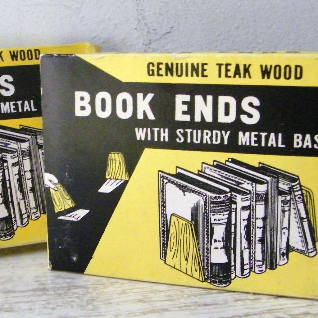 Genuine Teak Wood Book Ends Mint! still in Package