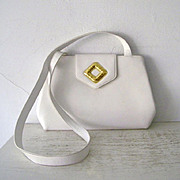 SALE Frances Patiky Stein White Italian Shoulder Bag Purse Mint condition