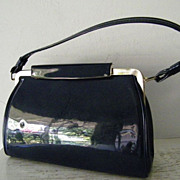 SALE Vintage Navy Patent Handbag