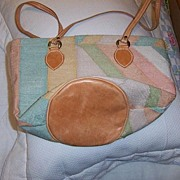 Multi  Color Cotton and Leather Handbag
