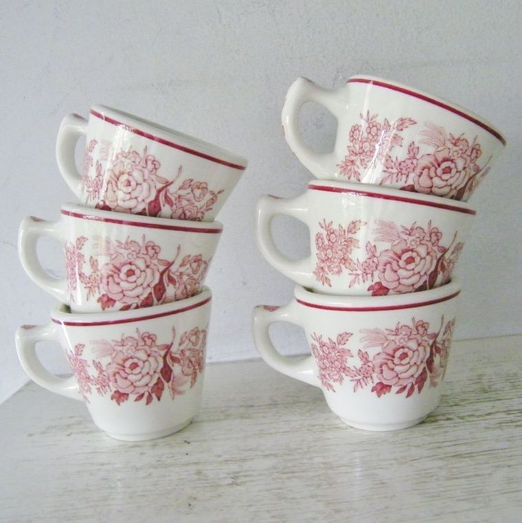 Shabby Chic Walker China Red Pink Restaurant Ware Cups set of six 6