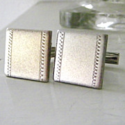 SALE Square Burnished Silvertone Cufflinks