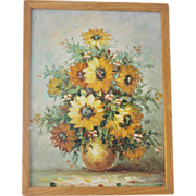 FREE Ship! Framed Original Sunflower Painting on Stretched Canvas