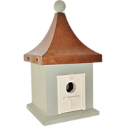SALE 14 1/2 Inch Large Vintage Smith and Hawken Wooden Bird House with Copper Roof