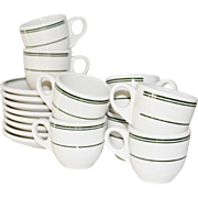 SALE 8 Sets Green stripes Demitasse Espresso Cups and Saucers Restaurant Ware