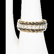 SALE Marked 18K E.P. gold rhinestone band size 6.5