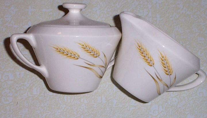 Wheat Design Sugar Bowl & Creamer Set