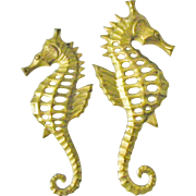 SALE Pair of Brass Seahorse wall hanging decor sea horse figurine plaques