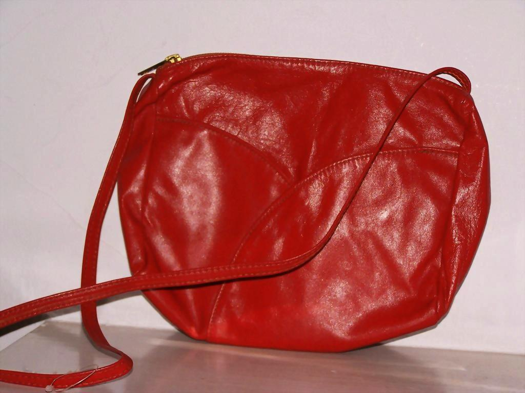 Red Leather shoulder bag  purse new with tags