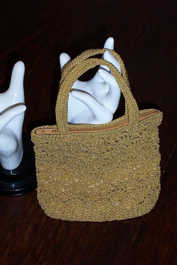 Fully Lined Gold Crochet Handbag Evening Bag