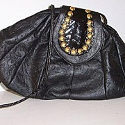 SALE Shafir Black Leather Studded Shoulder Bag  mint