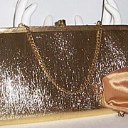 SALE After Five Gold Lame Purse  with Coin Purse