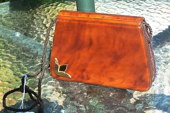 Lucite & Leather Saks 5th Avenue Handbag  French