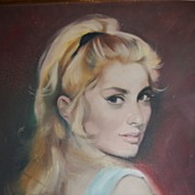 SOLD Lady Looking Over Shoulder Oil on Canvas Vintage Painting - Listed Artist Lajos Fuzesi