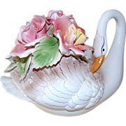 SALE Capodimonte ~ Large Swan w/ Roses Sculpture