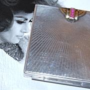 Art Deco Sterling Silver, 14K Gold & Ruby Compact ~ Wordley, Allsop & Bliss